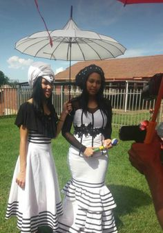 Umakoti nomakotshana African Traditional Wear, African Wedding Attire, African Dress, Ballet Skirt, Navy, Skirts, Clothing, How To Wear, Skirt