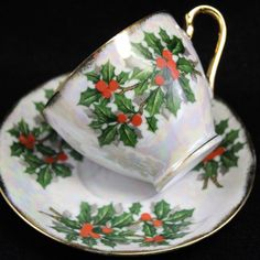 Your place to buy and sell all things handmade Christmas Tea Party, Christmas China, Great Christmas Presents, Green Christmas, Vintage Christmas, Royal Tea, December Birthday, Cuppa Tea, Create And Craft