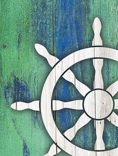 Ship Wheel on Wood - Marla Rae
