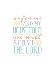Scripture Wall Art Print Typography Joshua 24 15 Me by marenlayne, $12.00