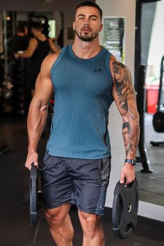 Workout Tanks, Gym Workouts, Iron Gym, Hunks Men, Beautiful Men Faces, Man Dressing Style, Workout Pictures, 4 Way Stretch Fabric, Mens Compression Pants