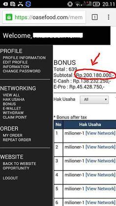 Bukti bonus member oasefood rp 200 juta hanya dalam 2 bulan     Ingin tau rahasianya ?     Hubungi...