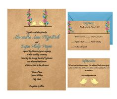 Custom Perfect Pair Love Birds Wedding Invitation Suite with Boho Style Flower Swing by AntonDigitalDesigns on Etsy