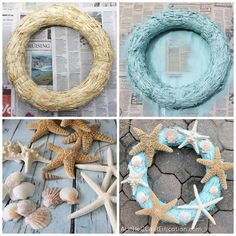 For my easy Starfish Wreath I simply used a straw wreath that I had found at the craft store a while back, some aqua spray paint and the leftover starfish I had from my DIY Starfish Garland. Hot glued those bad boys on with a few seashells and voila! Seashell Projects, Seashell Crafts, Beach Crafts, Summer Crafts, Starfish Wreath, Coastal Wreath, Nautical Wreath, Beach Wreaths, Coastal Decor