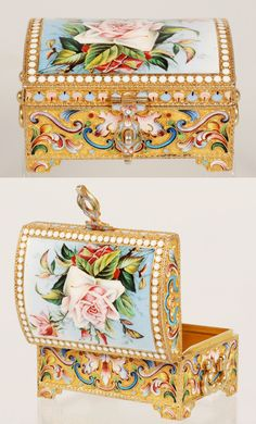 A Russian silver gilt, cloisonné and en plein enamel casket, Maria Semenova, Moscow, 1896-1908. Of rectangular form on raised bracket feet, the box decorated with shaded multi-color scrolling floral motifs, the hinged domed lid finely painted with a spray of pink roses against a pale blue enamel ground.
