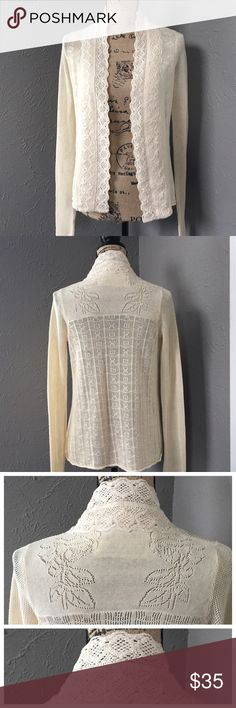 Anthropolgie Field Flower Crochet Cardigan Like new, no tags. GORGEOUS Anthro Field Flower open front cardigan. Beautiful Crochet detailing on back. Cream color. Made from thin cotton. Anthropologie Tops