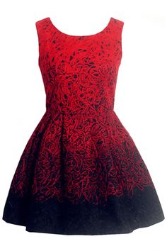 Pleated Sleeveless Dip-Dye Dress - OASAP.com