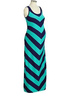 Saw this on a pregnant friend today. She looked amazing! Maternity Chevron-Striped Maxi Tank Dresses