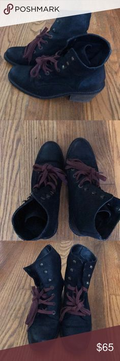 Dolce Vita lace-up boots Black Dolce Vita (DV) boots with red laces. Fits a 9-9.5. Smoke free home, but I have a cat who has minimal interaction with my closet. Minimal scuff marks (see pictures). Open to offers! Dolce Vita Shoes Ankle Boots & Booties