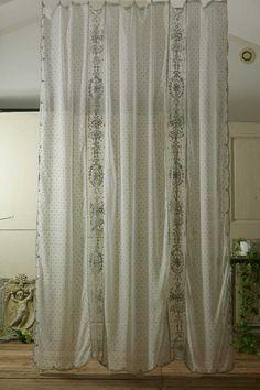 フレンチアンティーク コットンローンとチュールレースのカーテン  French Vintage Lace Curtain