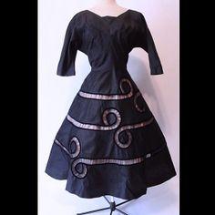 Vintage 1950s Dress Navy Blue Matte Satin by wearitsatvintage, $99.00
