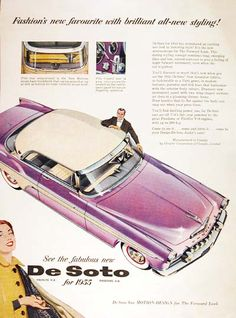 """1955 DeSoto Fireflite Coupe original vintage advertisement. """"Fashion's new favourite with brilliant all-new styling!"""""""