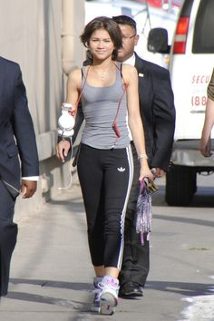 Zendaya Coleman is seen attending Jimmy Kimmel Live in her sports wear in Hollywood