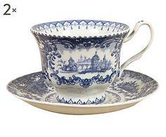 Set di 2 Tazze da the in ceramica con piattino Seicento blu - 14x9x14 cm