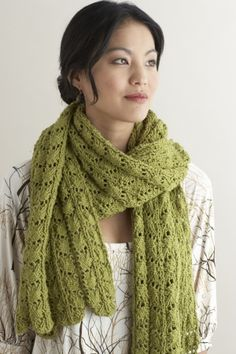 This knit Lacy Stole is made with Lion Cotton - great to wear all year round and perfect for those allergic to wool.