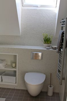 Are you a homeowner looking for a way to create an escape space for yourself in the comfort of your own home? Relaxing Bathroom, Attic Bathroom, Upstairs Bathrooms, Attic Rooms, Bathroom Toilets, Bathroom Storage, Bathroom Interior, Small Bathroom, Master Bathroom