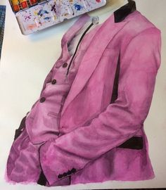 Pink watercolor suit