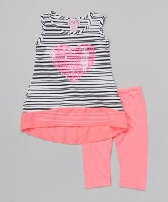 Love this Fuchsia Stripe Heart Tunic & Leggings - Infant & Toddler by Girls Luv Pink on #zulily! #zulilyfinds