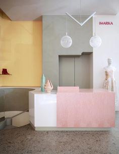 Custom Made Furniture, Furniture Making, Milan Boutique, Boutique Ideas, Pastel Interior, Wooden Screen, Hanging Rail, Ceiling Decor, Retail Design