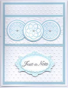 .SU Circle Circus stamp set, cuttlebug embossing folders, Sentiment from Flourishes, SU Apothocary Accents die, SU scalloped oval punch stick on pearls, blue, polka dot paper from Bearly Mine Designs, Card layout by http://images.splitcoaststampers.com/data/gallery/17298/2009/12/11/IMG_1559_by_TrudyW.JPG