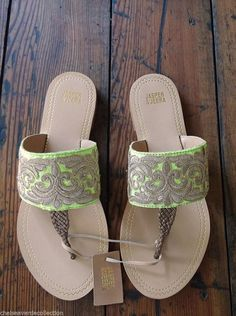 ANTHROPOLOGIE Bohemian Gold Metallic Embroidered Sandals - 11 Main
