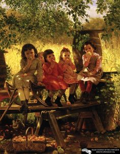 """John George Brown (J.A. Brown, 1831-1913) was an English born artist who moved to Brooklyn, New York, as a young man. His main subjects of his paintings were children, whom he depicted as happy and carefree, even when some of his """"street urchin"""" subjects were not, because in Victorian times, he did not want to upset his wealthy buyers. I love this painting called """"The Cider Mill,"""" which shows five little girls happily munching on apples under a tree. This painting stopped me in my tracks…"""
