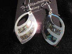 Oval Silver Plated Dangling Earrings with Abalone Inlay #UpstreamTradingCompany #DropDangle