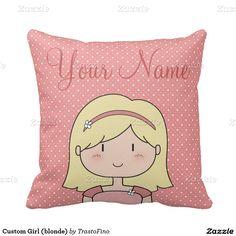 Custom Girl (blonde) Throw Pillows
