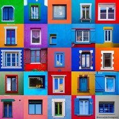 Fenêtres des maisons colorées du village de Trentemoult près de Nantes (44 - France) : compilation