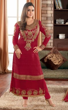 USD 61.90 Preity Zinta Red Georgette Churidar Suit 48159