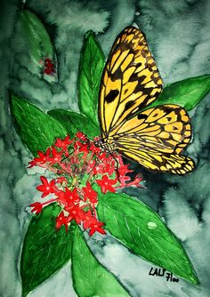 Yellow stripped Butterfly - Watercolour painting by Tjaša Kuerpick