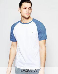 Imagen 1 de Camiseta de corte slim con manga raglán en contraste exclusiva de Farah