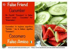 """ATTENTION! Just because words look alike doesn't mean they have the same definition. Check out these """"False Friends"""" to make sure you know which words are your true friends! Quarta settimana con la serie """"#Falsiamici""""! Per evitare errori e fraintendimenti!  #falsefriends #accademiastudioitalia #accademiastudioitalia.com #falsiamici #italia #italianlanguage #cocomero #cucumber"""