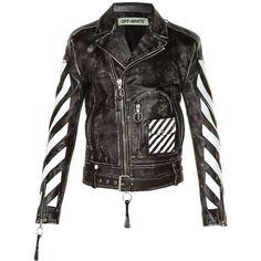 9ecdc89c7c0 Off White Logo-print leather biker jacket ( 1