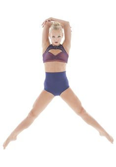 Crop top and high waisted brief. Dance costume. Mesh neckline. Jazz. Lyrical. In any color you want! Martina