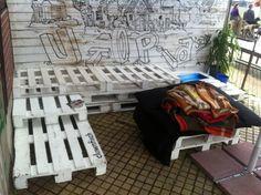 Garden bench made of pallets, Wuppertal, Utopiastadt