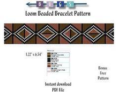 Check out our bead loom patterns selection for the very best in unique or custom, handmade pieces from our shops. Beaded Bracelet Patterns, Bead Loom Patterns, Beaded Bracelets, African Mud Cloth, Loom Beading, Free Pattern, Beads, Jewerly, Cuffs