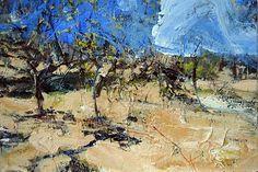 David Tress - 'Fruit Trees and a Cloud (Tarn)', acrylic on paper, 38x57cm, 2006