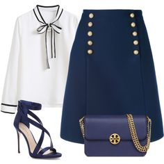 A fashion look from September 2017 featuring WithChic blouses, Gucci skirts y Imagine by Vince Camuto sandals. Browse and shop related looks.