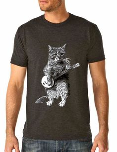 banjo shirt - cat shirt - vintage design BANJO CAT t-shirt - men's charcoal grey crew neck vintage t-shirt on Etsy, $24.00