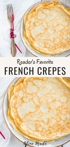 A delicious French crepe recipe for thin golden crepes served with your preferred filling. You can make this basic crepe recipe for breakfast or to enjoy it as a traditional French dessert. # fancy Desserts Basic French Crepe Recipe & Secret Batter Tip Breakfast Crepes, Homemade Breakfast, Best Crepe Batter Recipe, Best French Crepe Recipe, Simple Crepe Recipe, Desserts Français, Desserts For A Crowd, Fancy Desserts, Lemon Desserts