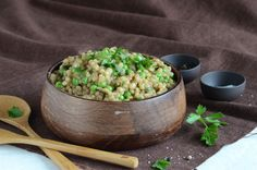 Pearl barley pilaf with porcinis & peas. A little sweet for my taste; next time: less wine, try stock instead.