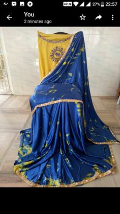 Satin shibori sarees with mirror work lace and embroidery blouse