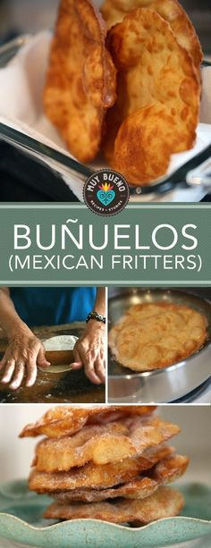 Buñuelos or Mexican Fritters are golden crispy-sweet tortilla-like fritters are sprinkled with cinnamon and sugar or topped with syrup. Great as a light dessert or an addition to your breakfast table. Enjoy with a cup of warm champurrado. Mexican Sweet Breads, Mexican Bread, Mexican Dishes, Mexican Cooking, Mexican Food Recipes, Sweet Recipes, Dessert Recipes, Mexican Desserts, Hispanic Desserts
