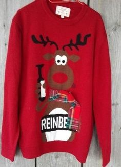 Kup mój przedmiot na #vintedpl http://www.vinted.pl/damska-odziez/dlugie-swetry/16001827-swiateczny-czerwony-sweterek-renifer-hit