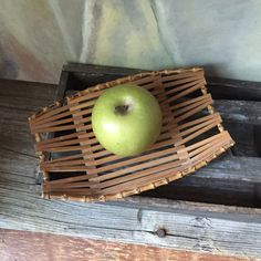 Mid Century Bamboo Bowl: Vintage Bamboo Fruit Basket by Untried