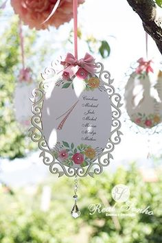 Identificação de Convidados | Batizado Jardim Cor-de-Rosa  Baptism decorations // party decoration ideas
