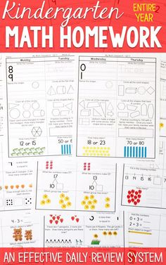 Kindergarten math homework or morning work that provides a daily review for Kindergarten math standards. This Kindergarten spiral math resource is fully EDITABLE and comes with answer keys and a pacing guide.