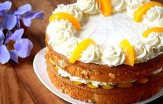 Peaches and cream sponge cake. Soaked with peach syrup and layered with peaches and cream. Bring this delicious cake to any celebration. Fresh Fruit Cake, Peach Syrup, Poke Cakes, Round Cake Pans, Sponge Cake, Cake Plates, Cream Cake, Kitchen Recipes, Simple
