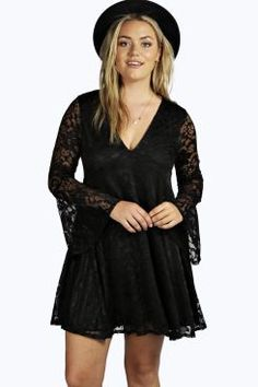 Plus Natalie Lace Wide Sleeve Swing Dress at boohoo.com